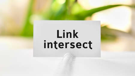 Link intersect business seo concept text on a white notebook and green flowers Banco de Imagens