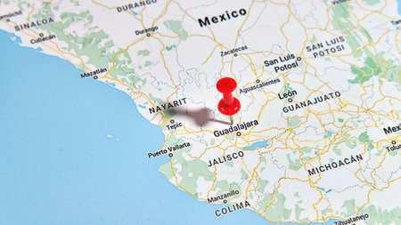 Guadalajara, Mexico on a map showing a colored pin