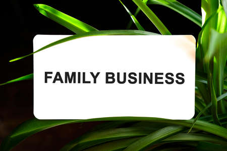 FAMILY BUSINESS text on white surrounded by green leaves