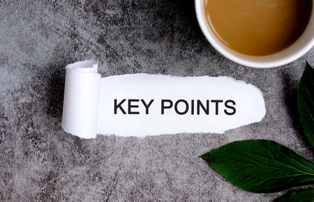 KEY POINTS with cup of coffee and green leaf Stock fotó