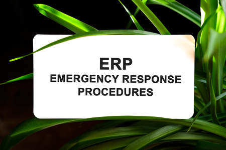 ERP EMERGENCY RESPONSE PROCEDURES text on white surrounded by green leaves