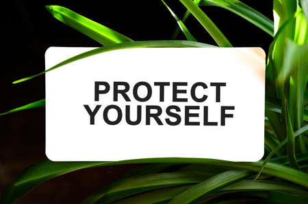 PROTECT YOURSELF text on white surrounded by green leaves