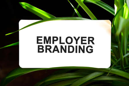 Employer Branding text on white surrounded by green leaves 免版税图像