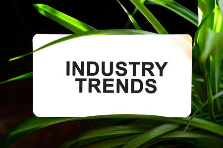 INDUSTRY TRENDS text on white surrounded by green leaves