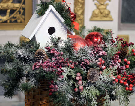 Decorative items for decorating Christmas and New Year, gifts, Christmas tree branches, balls