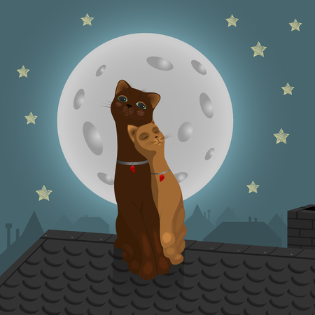 stovepipe: Pair of cats on the roof with Moon Background