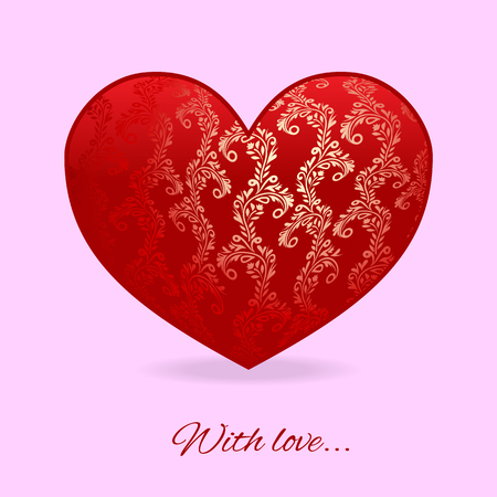 it is isolated: Happy Valentines Day card Vector red heart with tracery on it isolated on pink background