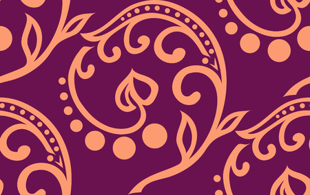 twiddle: Vector floral seamless twiddle pattern with curves, circles and heart