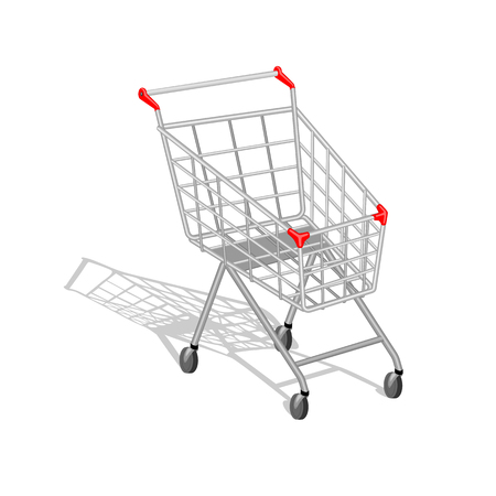 empty shopping cart: Realistic empty shopping cart with shadow on white background. You can put in the cart  anything you want in the layer Goods in the cart.