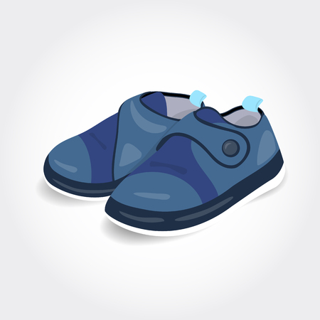 baby shoes: Realistic blue baby shoes for a boy isolated on white background