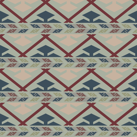 woven: Tribal colored seamless pattern with zigzag lines and rhombs. Saved in swatches. Illustration