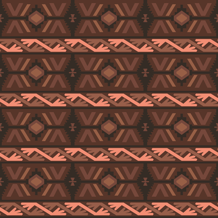 broun: Geometric tribal colored seamless pattern. Saved in swatches.