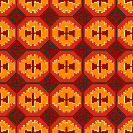 Geometric tribal colored seamless pattern. Saved in swatches.