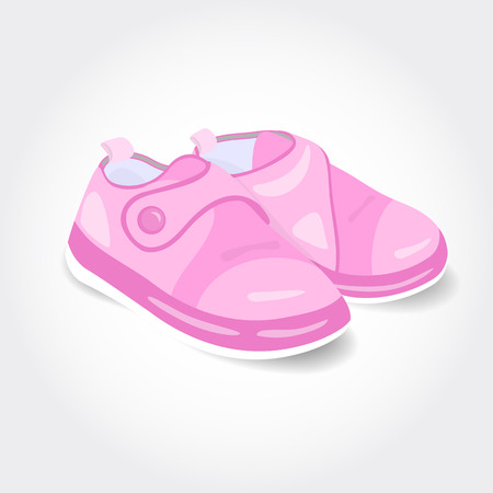 little girl feet: Realistic pink baby shoes for a girl isolated on white background