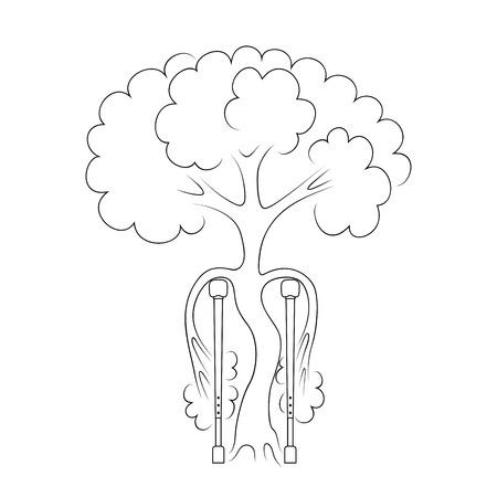 Tree on crutches as a symbol of orthopedics. Orthopedic medical center, hospital, institution, rehabilitation, diagnostics, surgery symbol icon design. The concept of treatment of orthopedic diseases. Illustration