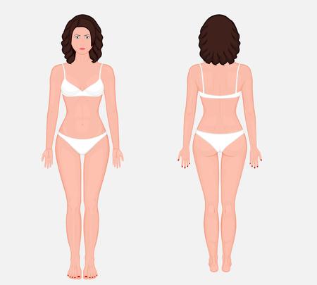 Posterior, frontal, anterior, vistas de trás do corpo nu da mulher européia em pleno crescimento em roupas íntimas. Ilustração vetorial para publicidade, médica (cuidados de saúde).