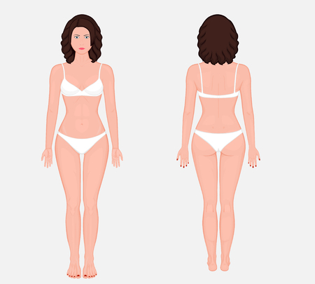Posterior, frontal, anterior, back views of naked body of European woman in full growth in underwear. Vector illustration for advertising, medical (health care).