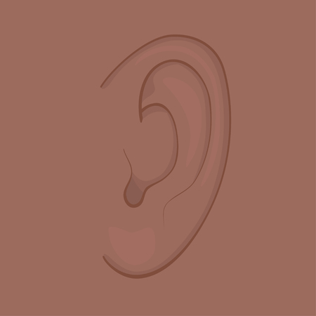 Vector illustration of African American and Indian human ear. For advertising, medical publications and for use on a package of medicinal products. EPS 8.