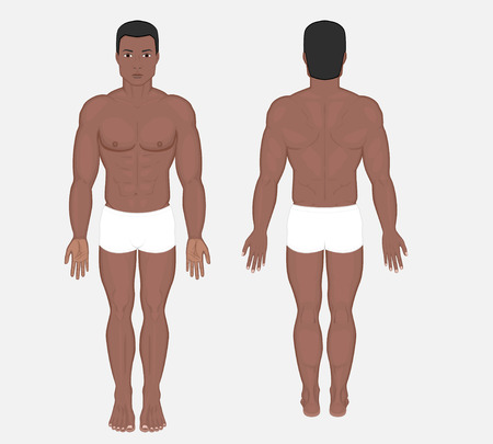 Naked body of African American man in full growth in shorts. Posterior, frontal, anterior, back view. Vector illustration for advertising, medical (health care), bodybuilding, sport publication. EPS 8