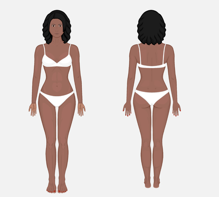 African American woman naked body in full growth in underwear. Front and back view. Vector illustration for advertising, medical (health care), bodybuilding, sport publications. EPS 8.