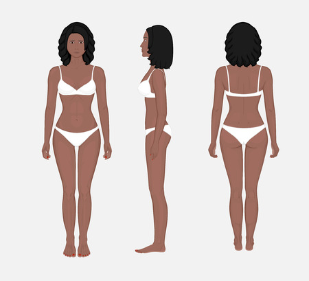 African American woman naked body in full growth in underwear. Front, side and back view.