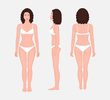 European brunette woman naked body standing in full growth in underwear. Front, side and back view.