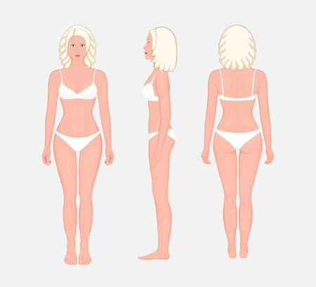 European blonde woman naked body standing in full growth in underwear. Front, side and back view. Vector illustration for advertising, medical (health care), bodybuilding, sport publications. EPS 8. Illustration