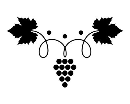 Vector Illustration der Ikone mit reifen Trauben des Bündels mit Blatt und Schnörkel. Schwarzes Symbol oder Logo lokalisiert auf weißem Hintergrund. Für Werbung, Verpackungsdesign oder Verkaufsförderung von Produkten auf dem Markt. EPS 8