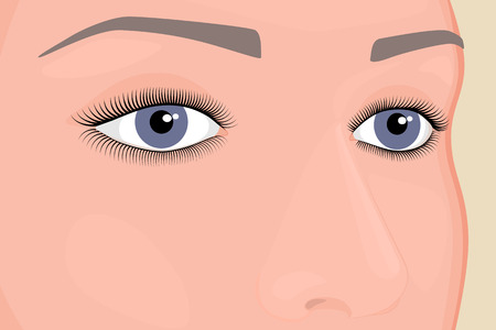 Vector illustration. Woman eyes and nose. Close-up and macro view. For advertising and medical publications. EPS 10. Illustration