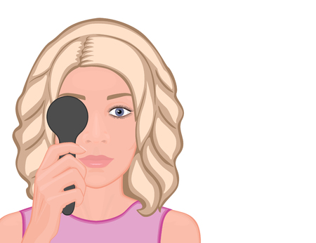Vector illustration. Girl getting eye exam. Close-up view. For advertising and medical publications. EPS 10.