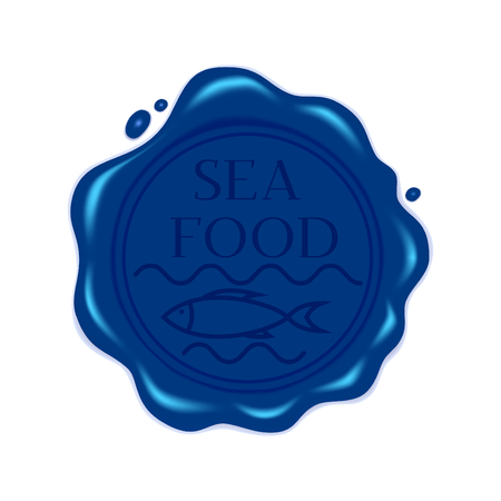 Vector illustration. Round blue wax seal with a fish symbol and labeled sea food. Isolated on white background. For packaging and label design for seafood and  products. Çizim