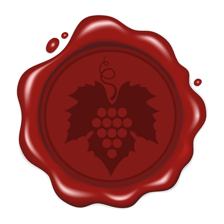 Vector illustration. Round green wax seal with bunch ripe grapes with leaf and curlicue. Isolated on white background. For packaging and label design for wine products.