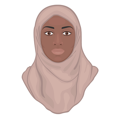 Portrait of a beautiful African American young Muslim woman wearing a hijab.