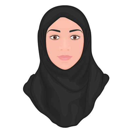 Portrait of a beautiful young Muslim woman wearing a black hijab.