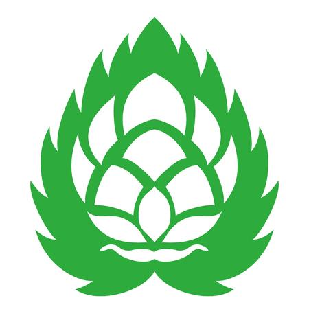 Vector illustration. Green outline, contour of green leaf background. Design for beer menu.