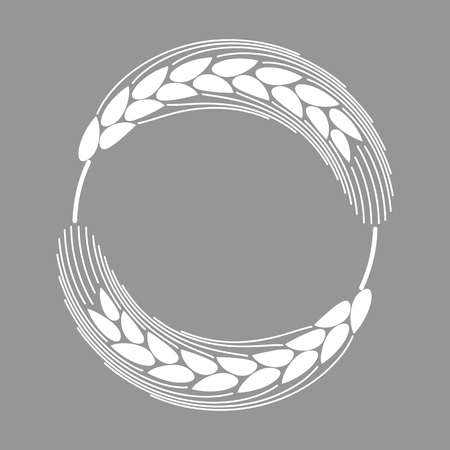 Vector illustration. Isolated round frame or wreath with rye, barley or wheat on background. Decorative design element for flour products, cooking, bakery, tags, labels.
