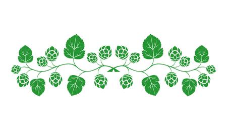 Vector illustration. Green outline, contour of crossed branches. Design for beer menu.
