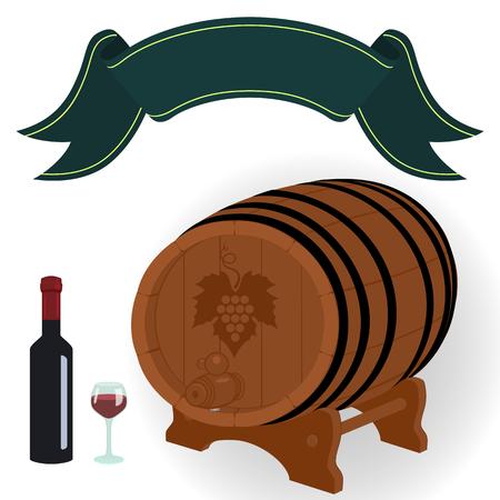 Vector illustration. Grape leaf and a dark decorative ribbon. Design element for wine menu page (text divider) and label for wine bottle.