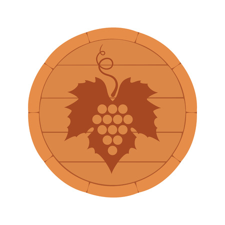 Vector illustration. Wine Barrel, top view, with background and grape leaf isolated on white background. Wine label, decorative design element for wine menu.