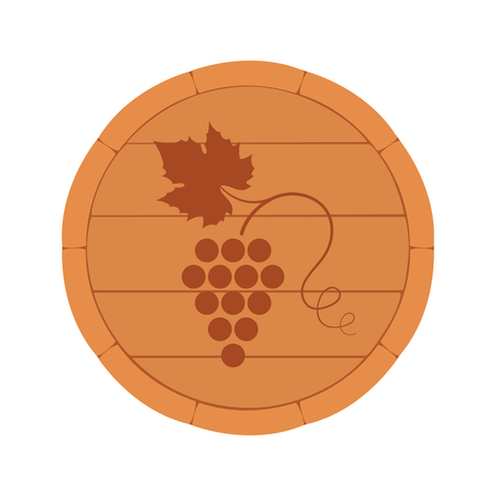 Vector illustration. Wine Barrel top view with branch and grape leaf isolated on white background. Wine label, decorative design element for wine menu. Çizim