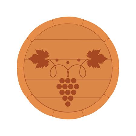 Vector illustration. Wine Barrel top view with branch and grape leaf isolated on white background. Wine label, decorative design element for wine menu. Ilustração