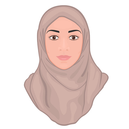 Portrait of a beautiful young Muslim woman wearing a pink hijab. EPS 10.