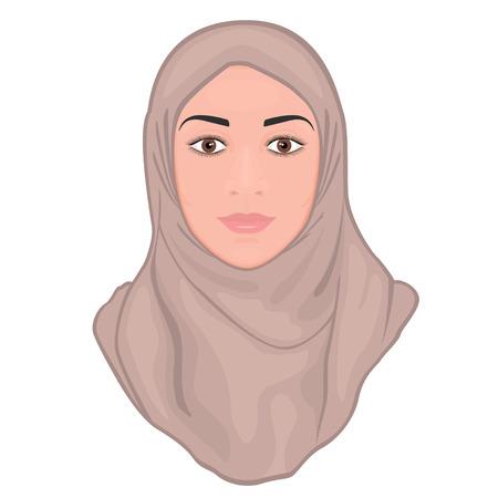 Retrato de una joven y bella mujer musulmana con un hijab rosa. EPS 10. Ilustración de vector