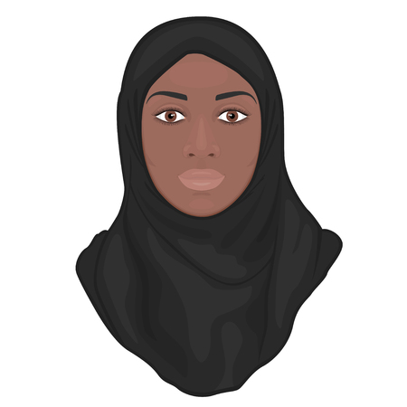 Portrait of a beautiful African American young Muslim woman wearing a black hijab.