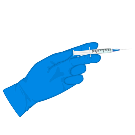 Vector illustration. Hand in medical glove with syringe. Close up view. For medical publications, immunization and bacterial disease.