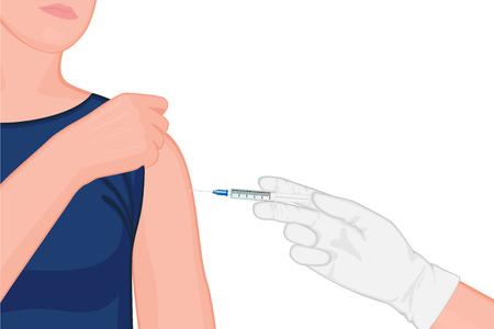 Vektor-Illustration. Arzt injiziert Impfstoff in die Schulter eines Patienten. Nahaufnahme. Für medizinische Publikationen, Impfungen und bakterielle Erkrankungen. Vektorgrafik