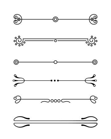 Set vettoriale di elementi calligrafici e di design grafico (divisorio di testo, motivo, monogramma, volute, fiore) per la decorazione della pagina, biglietti di auguri (matrimonio, San Valentino, compleanno, vacanze).