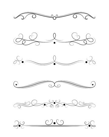 Vector set of calligraphic and  graphic design elements (text divider, pattern, monogram, curlicues, flower) for page decoration, Greeting Cards (wedding, Valentine's day, birthday, holidays).