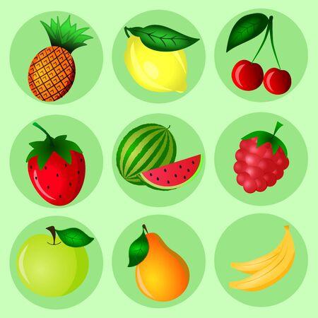 Hand Drawn color fruit set. Set of various colorful hand draw fruits. Doodle fruits. Fruits flat icons set. Illustration
