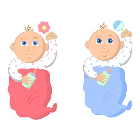 Little baby boy and baby girl. Adorable babies with beanbag and feeding bottle